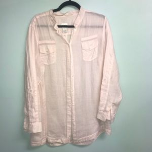 Chico's Size 3 soft pink linen shirt